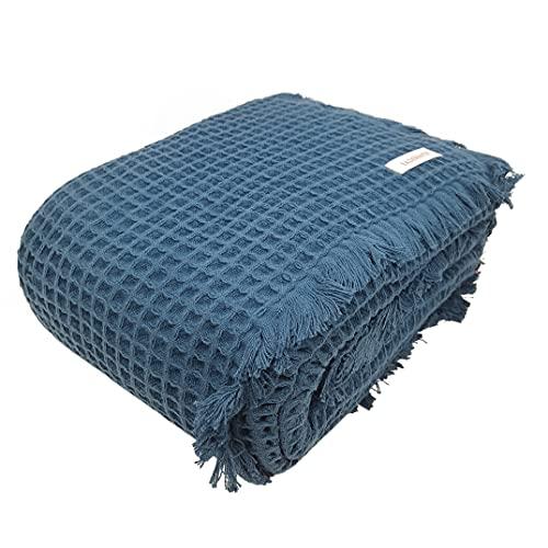 Bademayer Kuscheldecke Tagesdecke Pique-Decke 150 x 200 cm. aus 100prozent Baumwolle 350 g/m² - (Petrol-Blau)