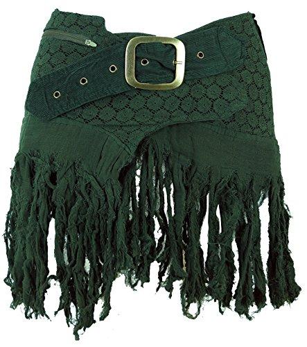GURU SHOP Goa Minirock, Wickelrock, Cacheur, Damen, Grün, Baumwolle, Size:40, Röcke/Kurz Alternative Bekleidung