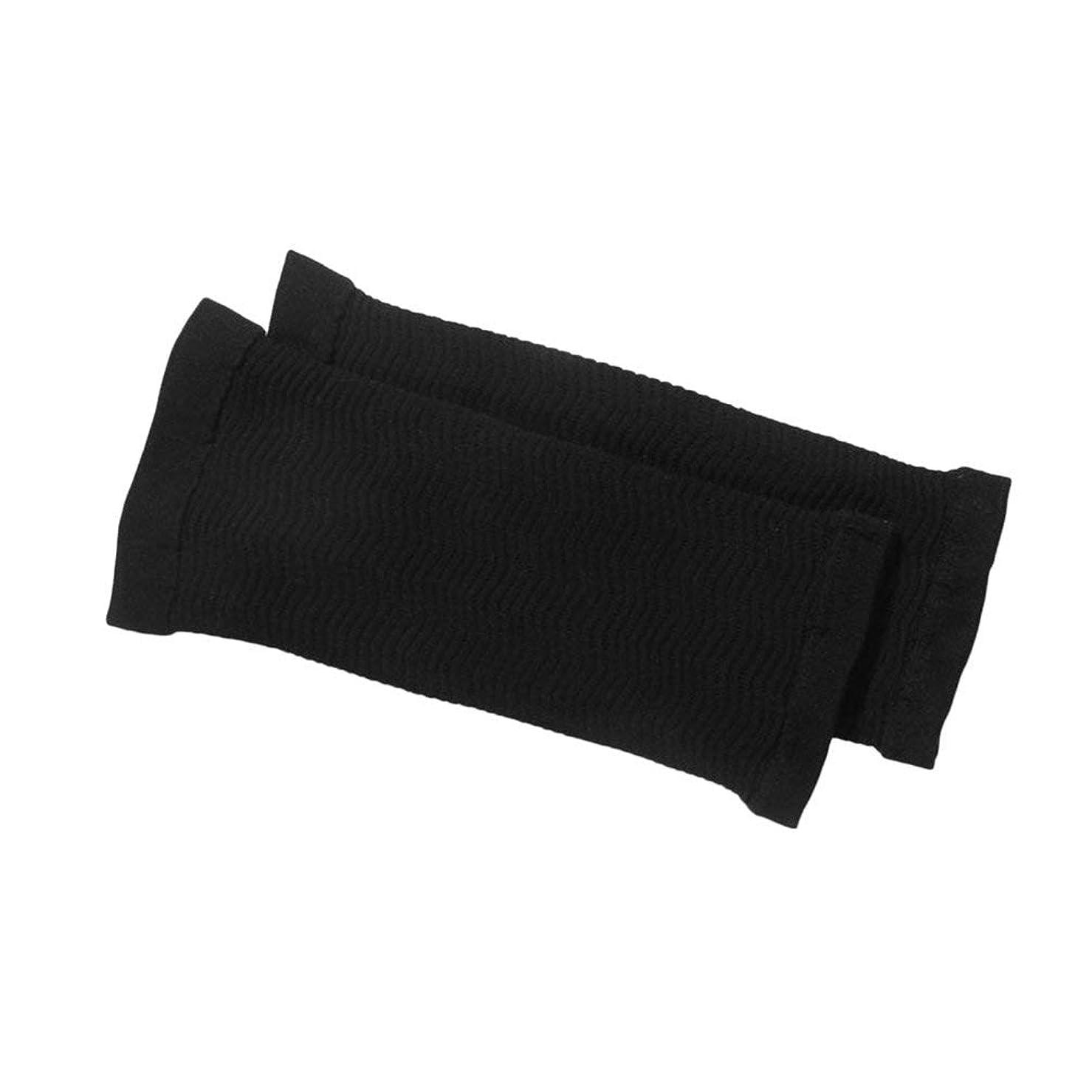 欺講師床を掃除する1ペア420 D圧縮痩身アームスリーブワークアウトトーニングバーンセルライトシェイパー脂肪燃焼袖用女性 - 黒