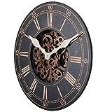 LZDD Reloj Decorativo De Estilo Europeo Reloj de Pared Antiguo Arte de Madera número Romano Reloj de Pared 18 Pulgadas