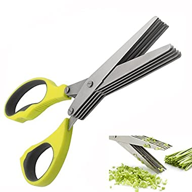 AUYE Herb Scissors Stainless Steel-Multipurpose Kitchen Shears 5 Blade with Cleaning Brush-Ergonomic Design Heavy Duty Durable Culinary Cutter with Sharp Blade