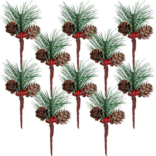 VOSAREA, 10 steli di Pino Artificiali, Piccole Bacche di pigne, Accessori per composizioni Floreali, Festival, Feste di Natale, Banchetto