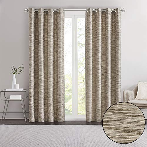 """Madison Park Cameron Yarn Dyed Texture Curtain, Grommet Top Window Drapes for Living Room, Bedroom and Appartment, 50"""" x 84"""", Mocha"""
