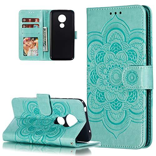 COTDINFOR Etui für Motorola Moto G7 Power Hülle PU Leder Cover Schutzhülle Magnet Tasche Flip Handytasche im Bookstyle Stand Kartenfächer Lederhülle für Motorola Moto G7 Power Green Mandala LD.