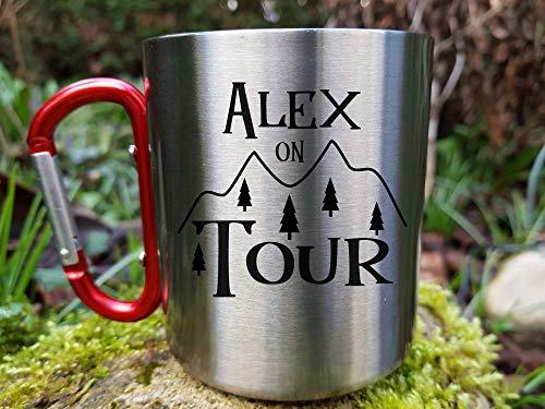 Edelstahl Tasse mit Namen, Outdoor Becher, Camping Geschenk, Trekking, Naturliebhaber, Klettern, Wandern Geschenk Personalisiert