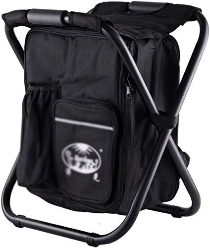 LifeX Chaise pliante portative de randonnée en plein air avec sac de glace, sac de camping pliable noir pour sac à dos de tabouret repliable place de siège de pêche chaise pliante double X forme chais