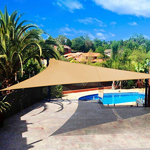 Shade&Beyond Sun Shade Sail Triangle 20'x20'x20' UV Block for Yard Patio Lawn Garden Deck Sand Color