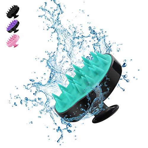 Masajeadores para el cuero cabelludo, cepillo para champú BELICOO peine flexible de silicona suave, promueve el crecimiento del cabello, protege la manicura, para uso húmedo y seco (Verde-claro negro)