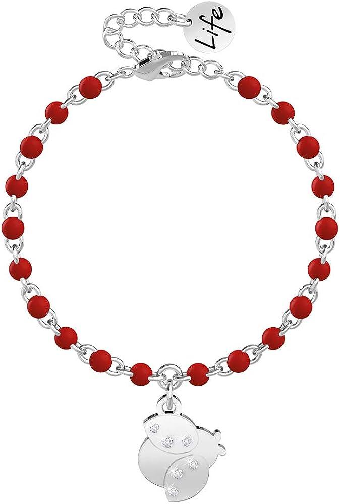 Kidult, bracciale per donna in acciaio con ciondolo a coccinella e catena rolò con inserimenti in smalto rosso 731824