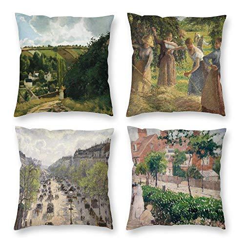 HOSTECCO Juego de 4 fundas de almohada de Camille Pissarro, fundas de...