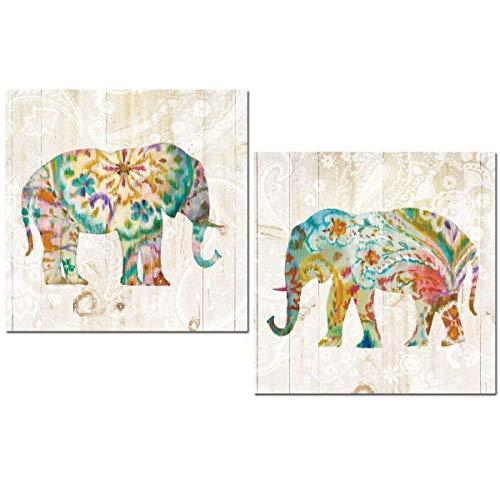 Cuadros decoración Elefantes Mandala decoración baño, comedor, dormitorio, cocina office 24x24x7 impermeable, con adhesivo AJT fort para colgar.