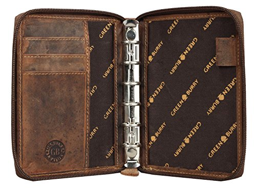 Greenburry Vintage Leder Terminplaner Lederbuch Taschen-Organizer A6 in braun aus pflanzlich gegerbten Rindleder