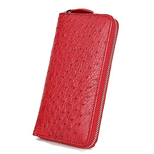 Brieftasche Weibliche Straußenleder Hand Geldbörse Neue Lederreißverschluss Multifunktions Lange Große Kapazität Brieftasche (Farbe : Red, größe : 19.2 * 10 * 2.3cm)