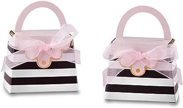 Kate Aspen 28427NA Striped Purse (Set of 12) favor box, One Size, black, white, pink, gold
