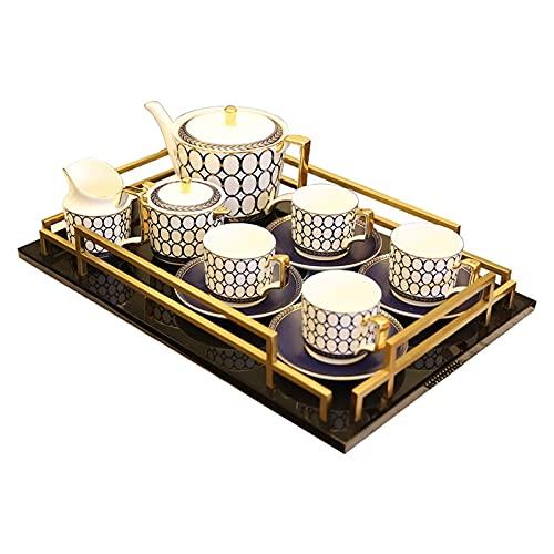 Taza de té de la tarde Juego de tetera Juego de tazas de té y platillo Juegos de café Juegos de té de porcelana Juego de cucharaditas de platillo con tetera Azucarero Jarra de crema para té Café