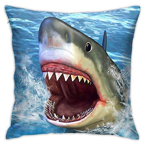 Traveler Shop Funda de Almohada Big Swimming Shark in The Sea Throw Pillow Cover Fundas de cojín Decorativas para el hogar, 18x18in
