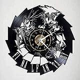 wttian Reloj de Pared de Vinilo de Final Fantasy, Registro de Silueta con Regalos Hechos a Mano para decoración de Dormitorio