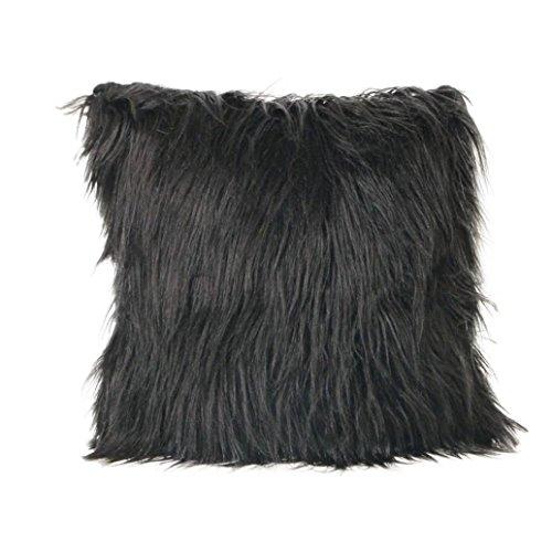 JYC - Housse de Coussin de Luxe Décoration d'Intérieur Peluche Extrêmement Douce Fausse Fourrure, Coton/lin, Noir , Size: 45 * 45cm