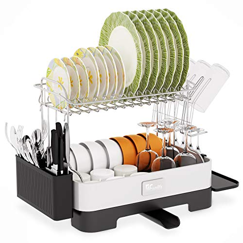 Dish Drying Rack, 1Easylife 2-Tier Large Drainboard Set with Fingerprint-Proof 304 Stainless Steel Frame, Swivel Spout, Utensil Holder, Cup Holder and Dish Drainer for Kitchen Counter Storage