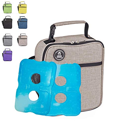 Healthy Packers Insulated Lunch Box for Adults and Kids w/ 2 Slim Long Lasting Ice Packs - Professional Work Lunch Bag for Men and Women - Heavy Duty School Lunchbox for Boys and Girls (Light Grey)