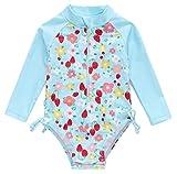 KAVKAS Maillot de bain à manches longues avec protection contre les éruptions cutanées pour bébé fille 9 à 24 m - Bleu - 18 mois