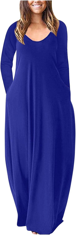 ManxiVoo Women's Long Sleeve Loose Plain Maxi Dresses Casual Long Dresses with Pockets Plus Size Autumn Dress