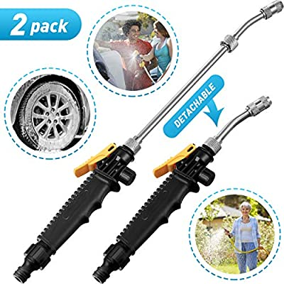 Mudder 2 Pieces 2-in-1 High Pressure Washer Detachable Jet Washer Adjustable Nozzle Washing Wand for Garden Hose Attachment, Car Washing Glass Cleaning Home Application, 18.9 Inch by Mudder