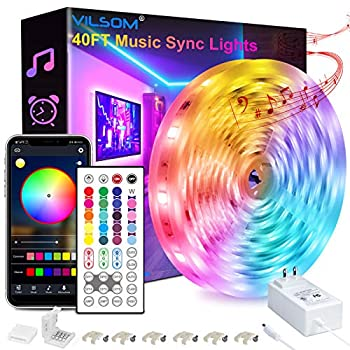 40FT Led Strip Lights ViLSOM Smart APP and Remote Control Music Sync Led Lights for Bedroom Room Ceiling Party Home Decoration with SMD 5050LED 16 Million Colors RGB Light Strip Bias Lighting