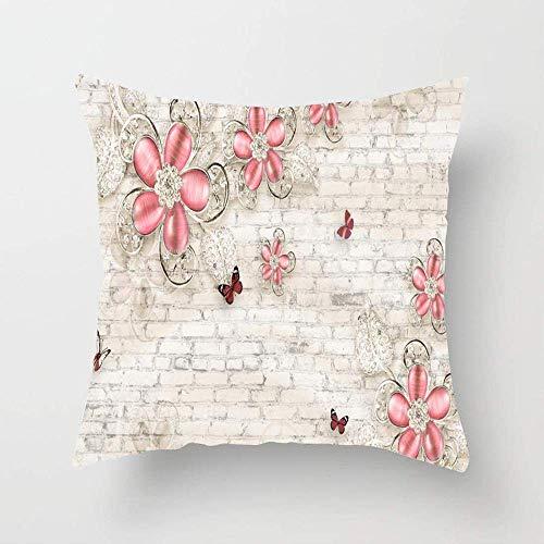 NA Patrón Abstracto Joyería Floral en 3D Fotomural Elite Textura Joyas gráficas Joyas Adornado Funda de Almohada Funda de cojín de algodón Cuadrado para sofá Dormitorio Coche