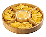 Strova 15 Inch Wood Bamboo Chip and Dip Serving Platter Set w/Ceramic Dip Bowl | Round & Large Chips...