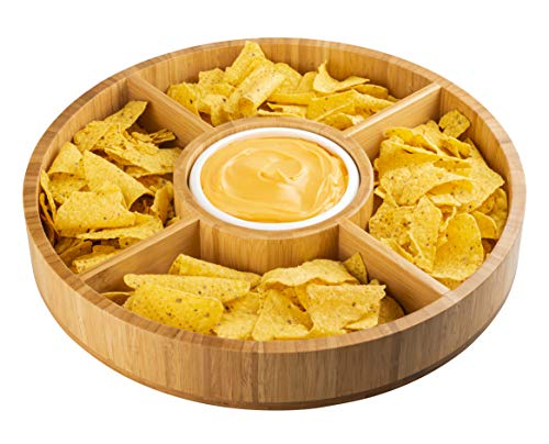 Strova 15 Inch Wood Bamboo Chip and Dip Serving Platter Set w/Ceramic Dip Bowl   Round & Large Chips Bowl Appetizer Server for Event Use   Salsa, Taco Chip, Guacamole, and Snacks Serving Tray