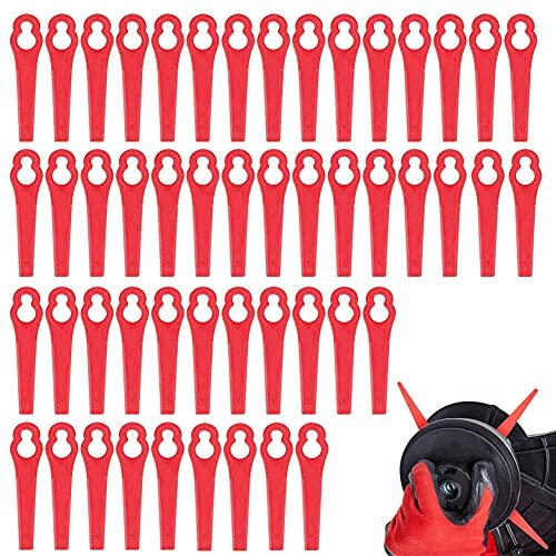 JAHEMU Cuchillas de Plástico Cuchillas Cortador de Césped Cuchillas de Recambio para Cortacésped para FRT18A FRT18A1 Art 46155 FRT20A1C, 50 Piezas
