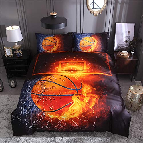 RENXR Duvet Cover Bedding Set 3 Pieces Basketball Printed Quilt Cover With Zipper Closure For Kids Bedding Decor Soft Microfiber Quilt Cover,Queen
