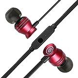 GGMM In Ear Kopfhörer mit Satten Bässen, Metall-In-Ear Headphones mit Mikrofon, Rot
