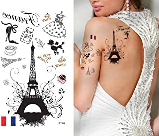 Supperb Temporary Tattoos - I Love Paris, France Eiffel Tower