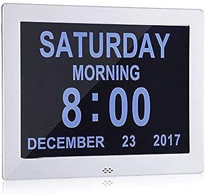 CHESUN Reloj de día Calendario Digital, Gran Reloj Digital con discapacidad Visual LCD Calendario Calendario