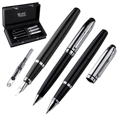 Mark Twain - Set di 3 penne in metallo, con penna stilografica e convertitore (cartuccia ricaricabile), penna a sfera e penna rollerball