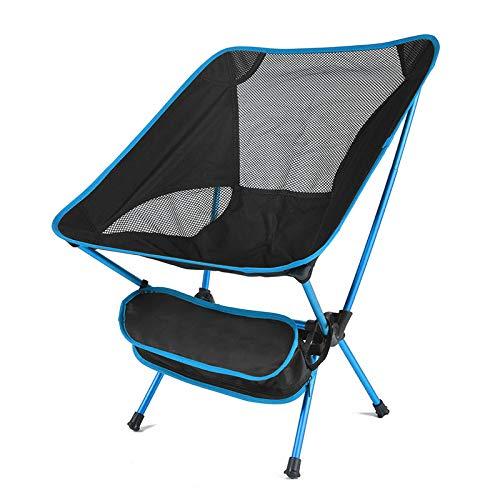 jjh hopfällbar stol camping fiske grillstol bärbar ultralätt hopfällbar stol hög belastning utomhus camping strand vandring picknick sits verktyg stol fällstolar för utomhus (färg: himmelsblå)