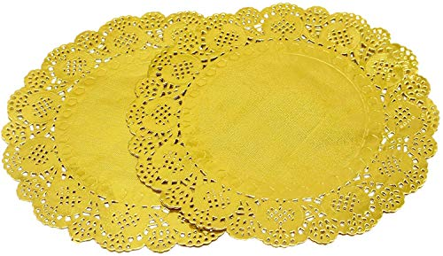Amkoskr 100 Pcs 12 Inch Round Lace Gold Paper Doilies Gold Foil Paper Placemats Doily Paper Pad for Cakes Crafts Party Weddings Tableware Décor