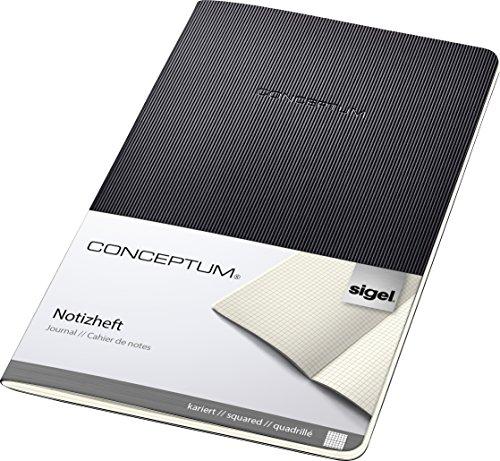 SIGEL CO862 Cuaderno de notas, 13.5 x 21 cm, cuadriculado, Softcover, schwarz, Conceptum