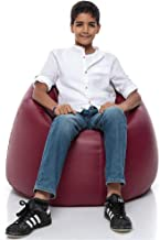 iBed Home Solid Faux Leather Bean Bag, Maroon - 80 x 50 cm