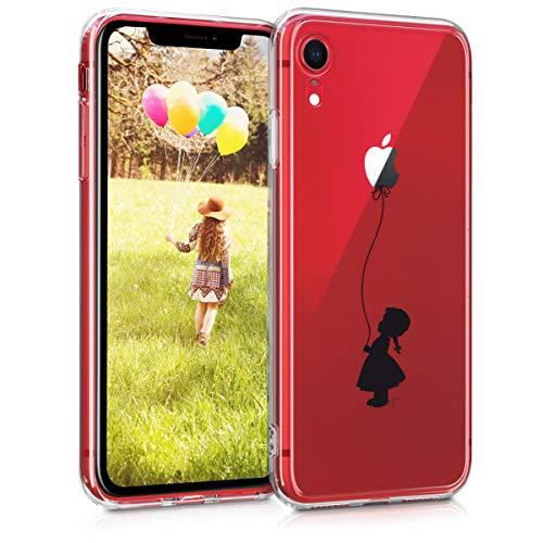 kwmobile Custodia Compatibile con Apple iPhone XR - Cover Silicone TPU - Protezione Back Case - Ragazza con Palloncino Nero/Trasparente