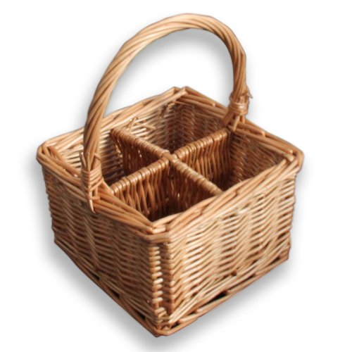 HOMESCAPES Natural Willow Wicker Cutlery and Glass Divider Basket with Four Compartments and a Carry Handle