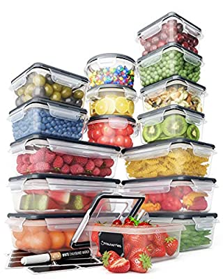Food Storage Containers Set - Airtight Plastic Containers with Easy Snap Lids (16 Pack) - Leak Proof Kitchen & Pantry Organization - BPA-Free - 16 Chalkboard Labels & Marker - Chef?s Path