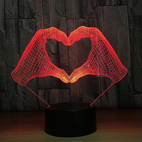 Jinson well 3D liebe herz geste Nachtlicht Lampe optische Nacht licht Illusion 7 Farbwechsel Touch Switch Tisch Schreibtisch Dekoration Lampen perfekte mit Acryl Base USB Spielzeug