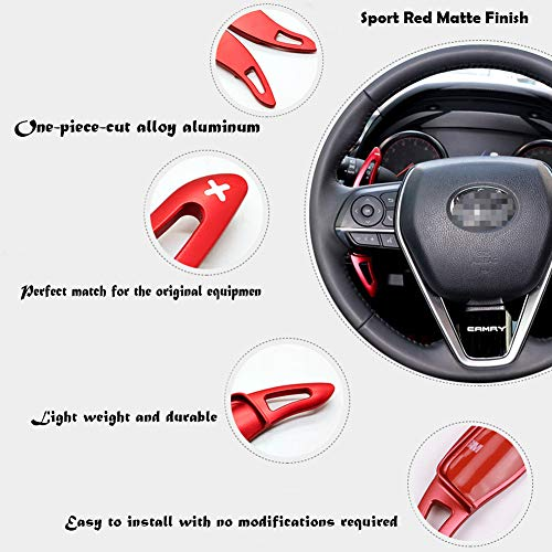 Miniclue Aluminum Steering Wheel Paddle Shifter Extensions Covers For 2018 2019 2020 Toyota Camry (Sport Red Matte Finish)