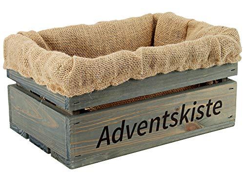 Kleine Holzkiste mit Stoffeinlage aus Jute, mit Aufdruck ADVENTSKISTE - Stiege - Steige - Mini Geschenkverpackung - Geschenkidee - Präsentkorb - leer (Hellgrau)