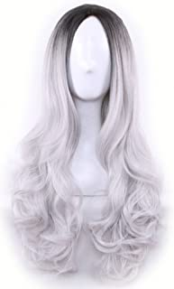 AneShe Ombre Wig Long Wavy 2 Tone Black and Grey Ombre Wig Dark Roots Heat Resistant Fiber Full Wigs for Women (Black to Grey)