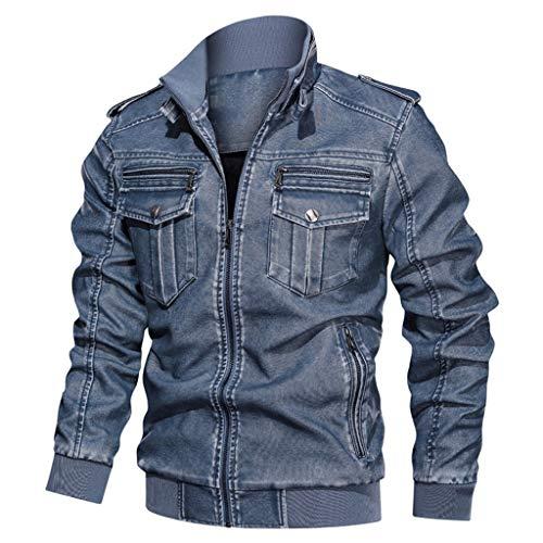 Feytuo Herren Mantel Kurz Slim Fit Elegant Einfarbig Winter Angebote Schwarz Outdoor Taschen Jacke Mode Große Größen PU Lederjacke Sale L-6XL