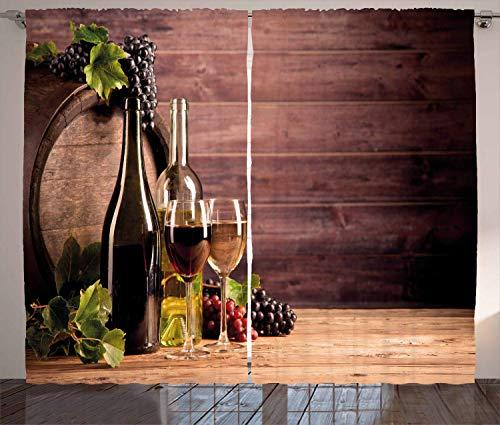 Cortinas de vino, bodegón de vino con barril de madera rústica para degustación viticultura, sala de estar, dormitorio, ventana, 2 paneles, 132 x 183 cm, verde y marrón